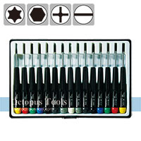 Screwdriver Set (15pcs, Slotted, Phillips, Ball End, Hex)